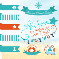 Set of vector handwritten letterings for summer design