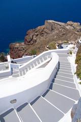 traditional stairway in Oia town on Santorini island