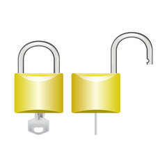 Closed and open padlock vector