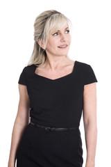 Portrait einer attraktiven Geschäftsfrau mit seitlichem Blick