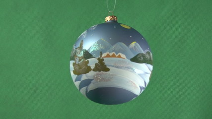Christmas ball on a green background