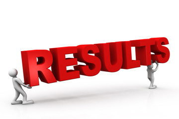 Tow people holding results , business concept.
