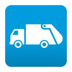 Etiqueta tipo app azul simbolo camion de la basura