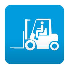Etiqueta tipo app azul simbolo carretilla elevadora
