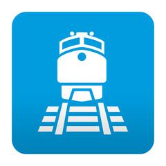 Etiqueta tipo app azul simbolo estacion de tren