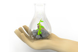 Scientist examining small  plants, biotechnology , biochemistry poster