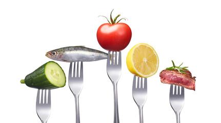 Vollwertkost mit Fleisch und Fisch