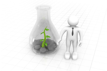 Scientist examining small  plants, biotechnology , biochemistry