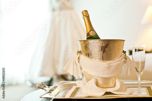 Tuinposter Alcohol Wedding: Champagne bottle and Wedding Dress
