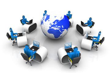 Teamwork concept, people working around world .