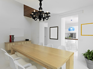 interior view of modern dining room overlooking on the kitchen