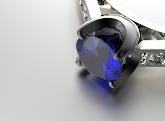 Wedding ring with diamond. Sign of love. Sapphire