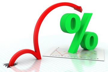 Moving arrow with percentage symbol .
