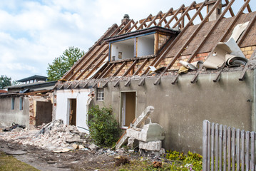Demolition of an old farm house