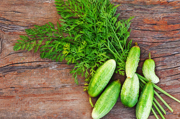Juicy ripe green cucumbers on old wooden background.