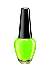 Bottle of green nail polish