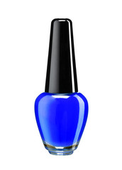 Bottle of blue nail polish