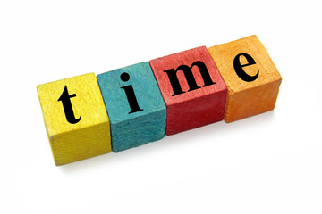 word time on colorful wooden blocks
