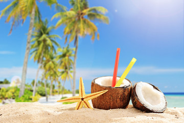 Coconut cocktail on a tropical beach in the summer
