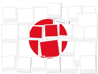 An illustration of the flag of Japan, photo frame