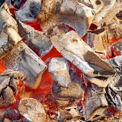 Flaming charcoal