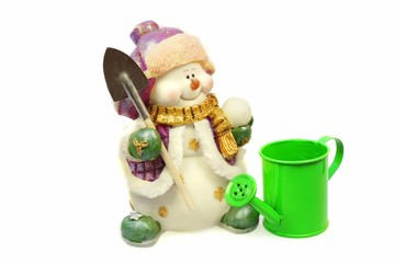 Snowman and watering can