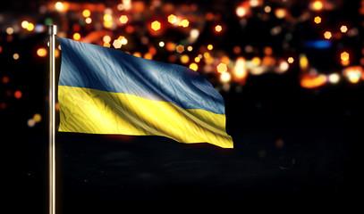 Ukraine National Flag City Light Night Bokeh Background 3D