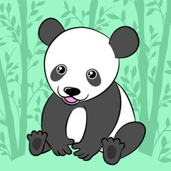 Cute cartoon panda in its natural habitat