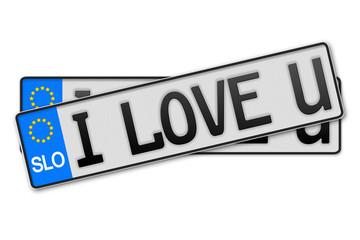 Auto Kennzeichen - i love u Slowenien