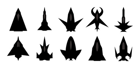Futuristic spaceship silhouettes Set. Vector EPS10.