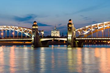Piter the first bridge in Saint-Petersburg, Russia