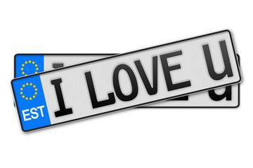 Auto Kennzeichen  - i love u Estland