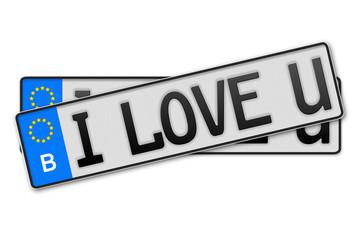 Auto Kennzeichen  - i love u Belgien
