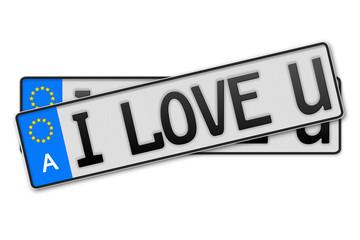 Auto Kennzeichen  - i love u Österreich