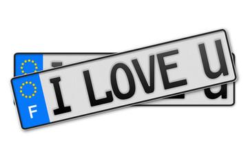 Auto Kennzeichen - i love u Frankreich