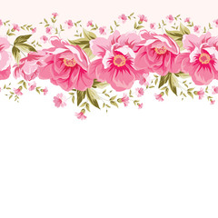 Border of flowers for seamless texture. Textile design