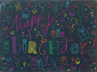 HAPPY BIRTHDAY Card (doodle invitation party celebration)