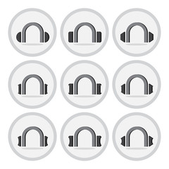 Vector of flat icon, headphones set on isolated background