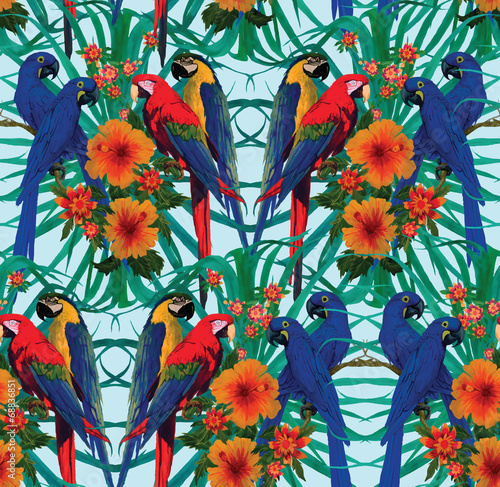Seamless pattern with macaws and flowers.