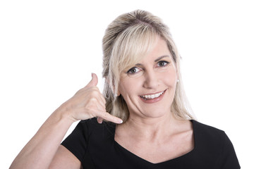 Telefon Support: Frau isoliert beim Telefonieren
