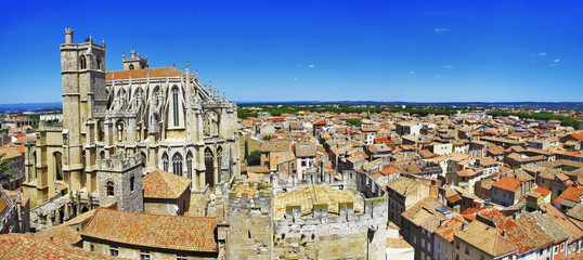 Narbonne , panoramic view with cathedral. south France