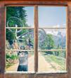 canvas print picture - Fensterblick Gosausee Radtour