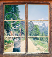 Fensterblick Gosausee Radtour