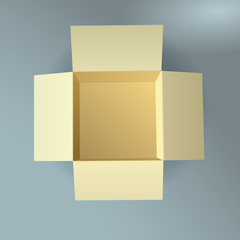 Open cardboard box, corrugated, top view with soft shadow