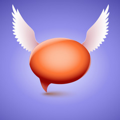 Speech bubble with wing. Symbol of love and communion, funny