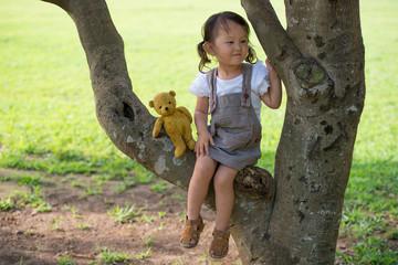 木の上に座る少女と熊の縫い包み
