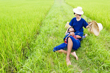 Portrait of a Thai Farmer in the Rice Field
