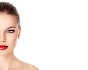 Skin care and rejuvenation therapy on pretty woman face.