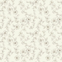 Elegant monochrome flowers fabric.