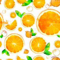 Orange seamless patterns of sliced ​​fruit